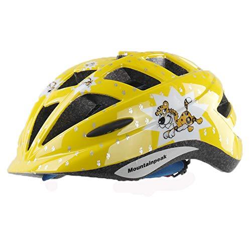 EDW Kinder Fahrradhelm Atmungsaktiv Stoßfest Outdoor Sports Schutzhelm Laufrad/Rollschuh/Skateboard/Skate Einteilige Schutzausrüstung Tiger Gelb