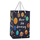 Blueangle 75L Cartoon Solar System Pattern Laundry Baskets Collapsible Waterproof Laundry Hampers Household Organizer Baskets with Extended Cotton Handles
