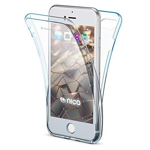 NALIA 360 Gradi Cover compatibile con iPhone SE 2020/8 / 7 Custodia, Sottile Fronte Retro Silicone Full-Body Integrale Case Protettiva, Telefono Cellulare Bumper Protezione Schermo - Blu