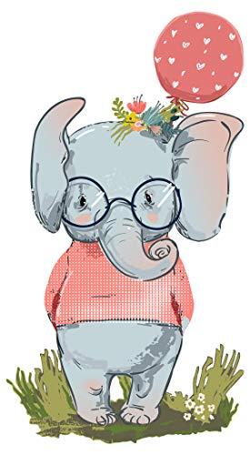 dekodino® Wandtattoo Pastell Elefant mit Luftballon rot Kinderzimmer Wanddeko