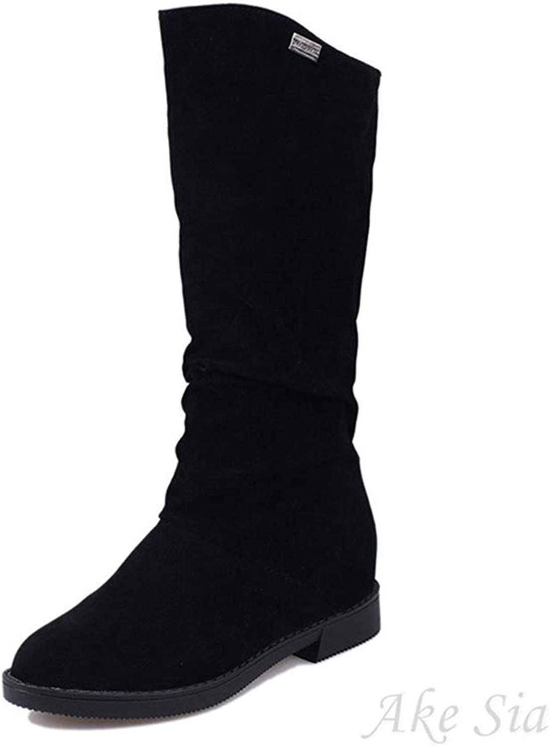 Hoxekle Autumn Winter Women Boots for Female Ladies Height Increased Low Heel shoes Woman Mid Calf High Boots