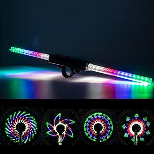 Luces de radios de rueda de bicicleta, 30 patrones 64 LED luces de bicicleta coloridas, luz de advertencia de conducción nocturna, luces de ciclismo al aire libre para accesorios de equipo de ciclismo