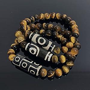 WJZB Natürliche tibetische Dzi Armbänder Heilung Schmuck Buddha Gebet Neunäugiger Charme Gelb Tigerauge Edelsteine ??Stein Armbänder Männlich