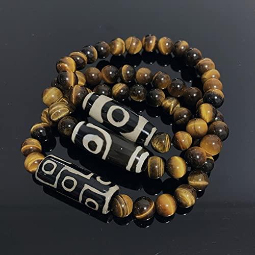 WJZB Pulseras Dzi tibetanas Naturales, joyería curativa, oración de Buda, Encanto de Nueve Ojos, Gemas de Ojo de Tigre Amarillo, Pulseras de Piedra para Hombre