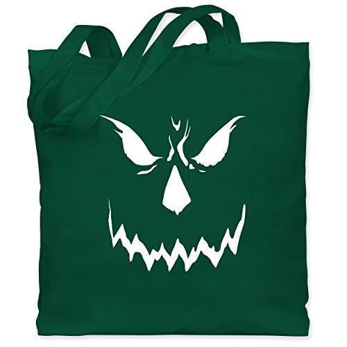 Shirtracer Halloween - Scary Smile Halloween Kostüm - Unisize - Dunkelgrün - Gesicht - WM101 - Stoffbeutel aus Baumwolle Jutebeutel lange Henkel