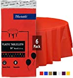"Plastic Tablecloth Red Round Disposable Table Cloth - Heavy Duty (84"" Inches) 4, 5, 6 Foot Round Tables, Party Tablecloths Christmas Birthday Parties [6 Pack]"