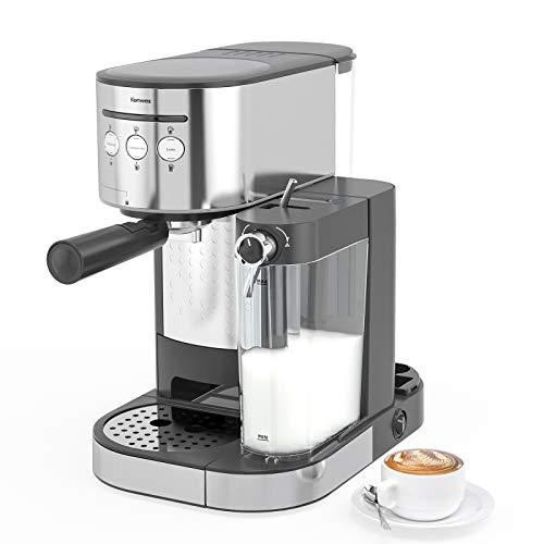 Kenwell PrimaLatte II Kaffee- und Espressomaschine, 20 Bar Druck, für Kaffeepulver, Integrierter automatischer Milchschäumer, schwarz/silber…