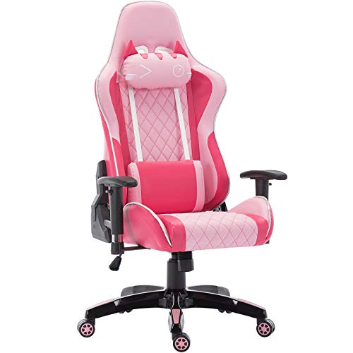 Computer Gaming Chair, Ergonomic Cute Kitty Cat PC Computer Chair, for Video Game (Pink Kitty)