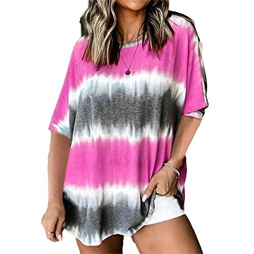 Mayntop Camiseta de verano para mujer con diseño de rayas degradado degradado de gran tamaño, manga corta, talla grande, A-fucsia, 48