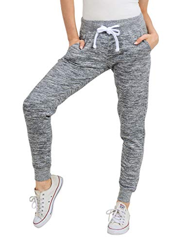 esstive Women's Ultra Soft Fleece Basic Midweight Casual Active Workout Solid Jogger Sweatpants, Marled Charcoal, Large