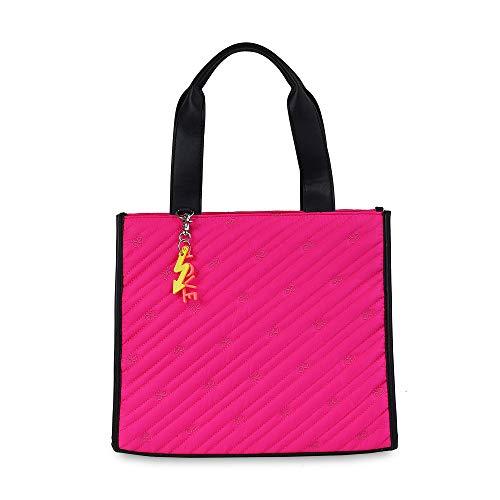 Cloe-Bolso Satchel en Color Rosa con Distintivo Colgante para Mujer