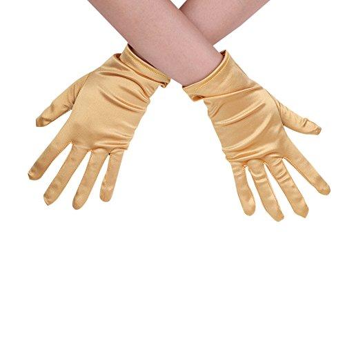 Guantes de boda para mujer de satén, guantes cortos, guantes góticos elegantes, guantes de fiesta, vestido para fiesta, fiesta, baile de trabajo, fiesta o fiesta, dorado, Talla única