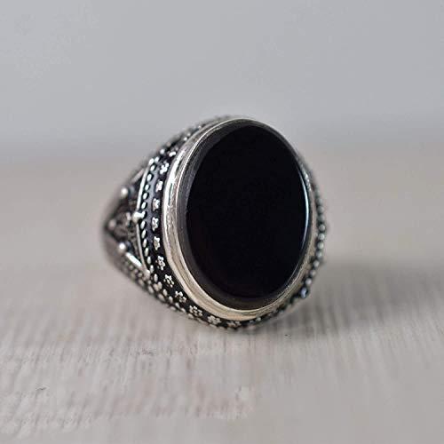 925 Sterling Silver Ring, oval flat, Black Onyx Gemstone Ring, Handmade, Natural Gemstone, Arabic ring, Statement, Celtic, Man's, Boys, Engagement, Wedding anniversary