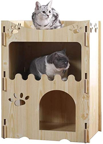 Huisdier nest Cat House Krabpaal Cat Tower, 2-Story Wood Cat House Overkapping met Dak, Houten Pet Bunk Bed Indoor, hok (Color : B)