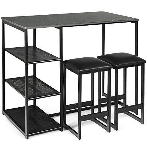 COSTWAY 3tlg. Küchenbar, Esstisch mit 2 Stühlen, Sitzgruppe Küche, Balkonset für 2 Personen, Essgruppe (schwarz)