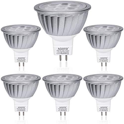 AGOTD Faretti Led GU5.3 Lampadina a Led MR16 12V 7W SMD Lampada, GU 5.3 Socket, Alluminio, equivalente 50W Luce Alogena, 560LM, 38 ° Deg, Bianco Caldo 2700K, 50x48mm,Confezione da 6 Unità