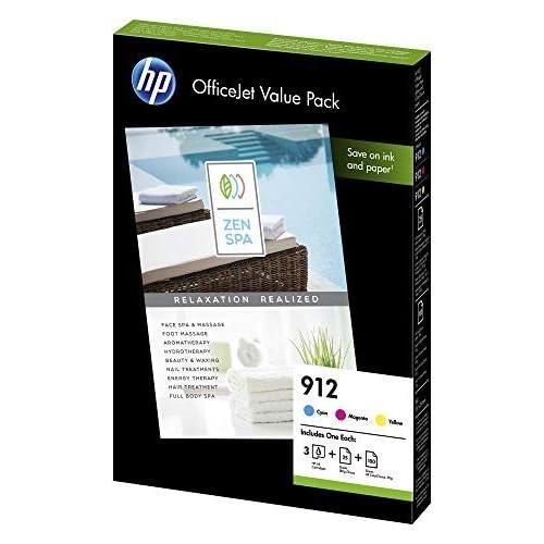 HP 912 Value Pack, 6JR41AE, Contiene 3 Cartucce Originali Standard, da 315 pagine ciascuna e 175 Fogli A4, per Stampanti a Getto di Inchiostro HP OfficeJet Pro Serie 8010, 8020, Ciano, Giallo, Magenta