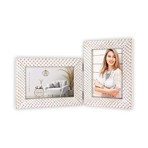 ZEP - Houten Duo / 2-luik fotolijst Jules wit/bruin voor 2 foto's 10x15 (formaat 33x19 cm) - NC989