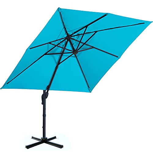 Sunnyglade 10x10ft Patio Offset Hanging Umbrella Square Deluxe Outdoor Cantilever Umbrella with Easy Tilt for Garden, Backyard, Patio,Pool (Blue)