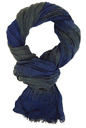 Ella Jonte Herrenschal blau dunkelblau grün gestreift Viskose leichter Schal