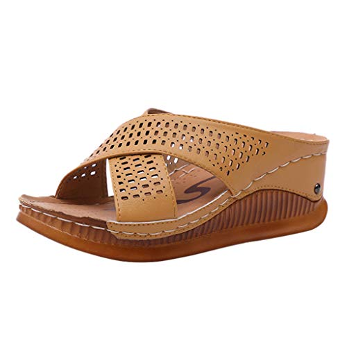 FengGa Women's Outdoor Thick Platforms Slippers Fashion Casual Slip On High Heels Cross Wave Sole Lightweight Sandals Brown