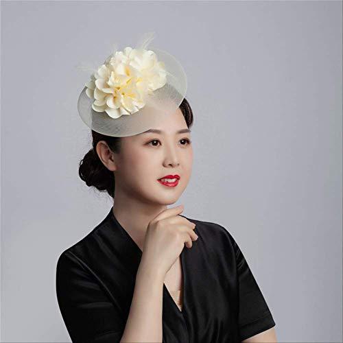 SKJSB Chapeau Plume Bonne Qualité Femmes Chic Fascinateur Chapeau Cocktail Fête De Mariage Église Chapeau De Mode en Épingle À Cheveux Cheveux Accessoires Montrer Fascinator Beige