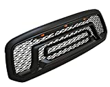 Front Grille for 2013-2018 Dodge Ram 1500 Rebel Style Front Hood Grill with 3 Amber Lights and Letters (Matte Black)