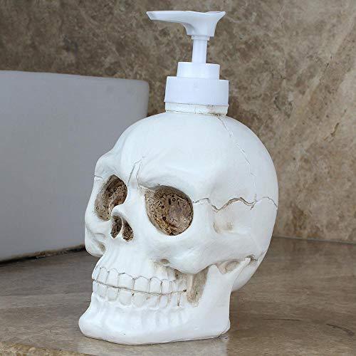 TEEPAO Dispensador de jabón reutilizable, dispensador de bomba de calavera de resina vintage para loción/ enjuague bucal/ champú, regalo creativo cocina baño decoración de Halloween - 350 ml