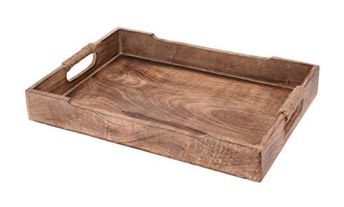 Meinposten. Tablett Serviertablett Holz Mango braun Holztablett Deko Dekotablett Dunkelbraun (Groß (46 x 30 cm))