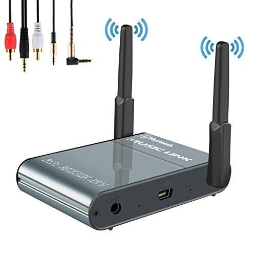 Receptor Bluetooth, Adaptador de Audio Lnalámbrico Hi-Fi, 3D Surround AptX Baja Latencia, HD Estéreo Música Audio Adaptador, 3.5mm AUX Para TV & Cascos