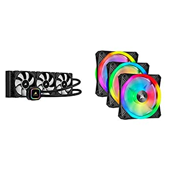 Corsair iCUE H150i RGB Pro XT 360mm Radiator Triple 120mm PWM Fans Advanced RGB Lighting and Fan Control with Software Liquid CPU Cooler & QL Series Ql120 RGB 120mm RGB LED Fan