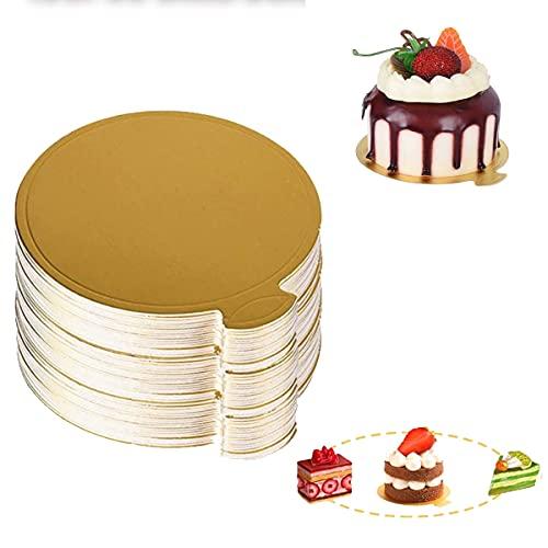 Bases para Tartas Mini Bases de Cartón,100 Pcs Tableros De La Torta De Mousse,Mini Bases de cartón para Tartas,Base de Pastel Base de Postre para Cumpleaños de Boda Bandejas Tartas