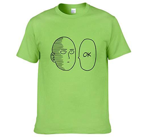 HAOGUO T-Shirt, stilvolle Persönlichkeit Digital Print Anime One Oppai Punch-One-Punch Superman Sommer Baumwolle Kurzarm-T-Shirt,Grün,S