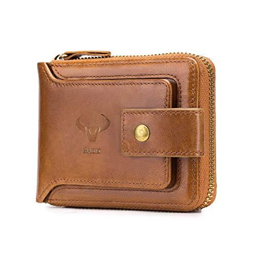 BAIGIO RFID Men Leather Zipper Wallet Zip Around Wallet Bifold Multi Card Holder Purse (Yellow)