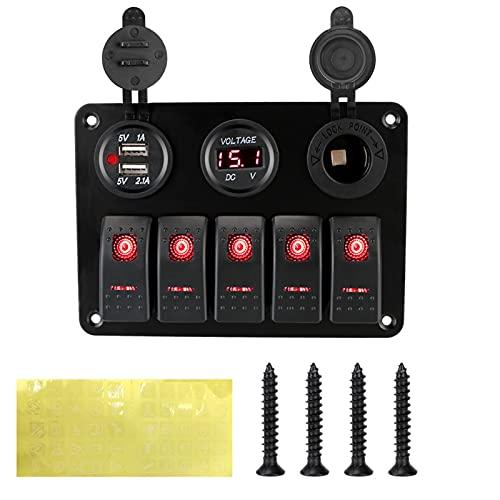 QWLHZW 5 pandillas LED Rocker Interruptor Panel 12 / 24V Outlet Combinación Voltaje Digital Doble USB Dual USB Socket para vehículos de vehículos de automóviles Marinos Camión (Color : Red)