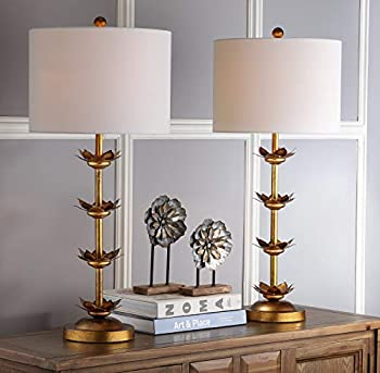 Safavieh Lighting Collection Lani Antique Gold Leaf 32-inch Bedroom Living Room Home Office Desk Nightstand Table Lamp  Set of 2  - LED Bulbs Included