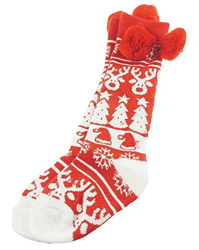 Chaussettes à pompons pour bébé fille et garçon Motif renne de Noël Rouge 18-24 mois