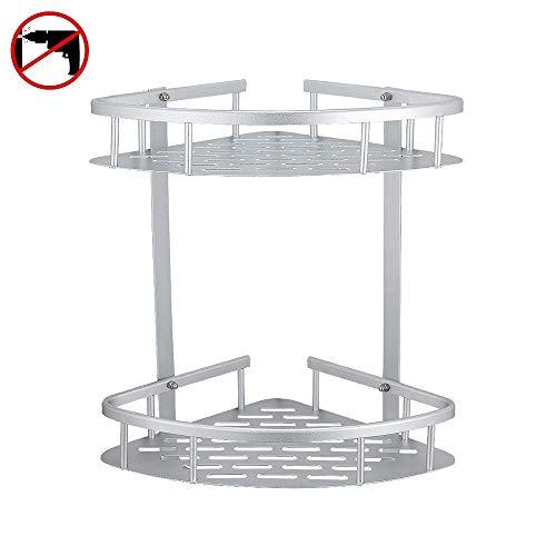 Hoomtaook Bandeja de baño triangular plateada, Cesta de ducha, Rinconera, Aluminio aeroespacial, Organizador de baño, Montaje en pared sin taladro, Adhesivo, 2 niveles
