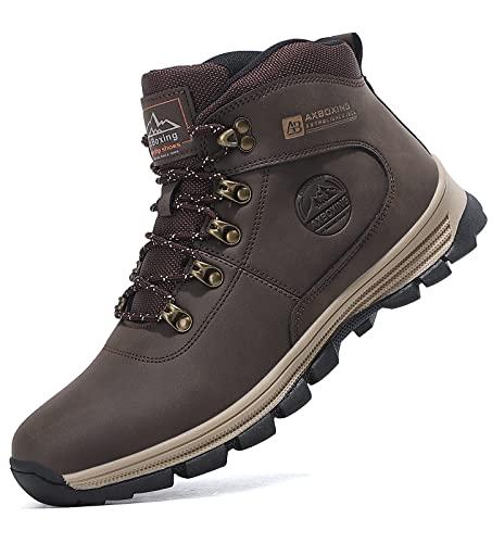 TARELO Botas Hombre Invierno Cálido Forro Piel Zapatos de Nieve Trekking Botines de Senderismo Tamaño 41-46(EU, Marron oscuro, Numeric_44)
