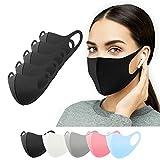Stoffmasken 5 Stück schwarz, Mundschutz Masken waschbar, Behelfsmaske Alltagsmaske Gesichtsmaske Community Maske Mund und Nasenschutz Damen Herren