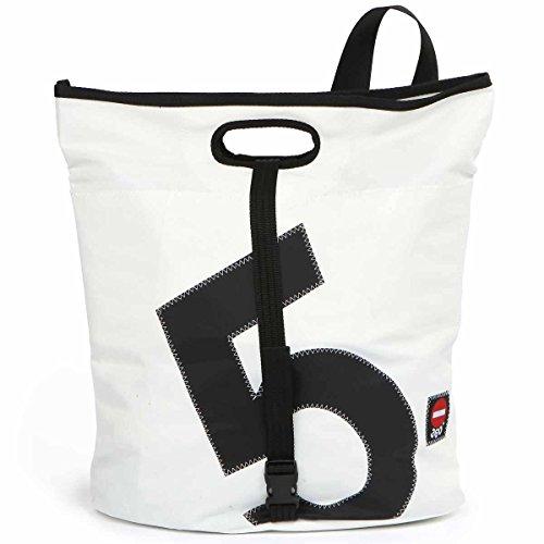 360° Tender Freizeittasche aus Segeltuch mit Schultergurt, Recycling Seesack Shopper Bag, Schultertasche Hobo Bag für Shopping und Strand, weiß, Zahl schwarz