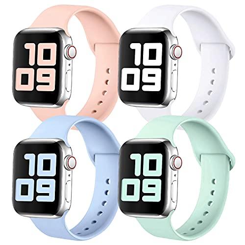KUNYOS 4er-Set Armband Kompatible mit Apple Watch Armband 38mm 40mm, Weiche Silikon Ersatz Sportarmband Loop Kompatible mit iWatch Series SE/6/5/4/3/2/1