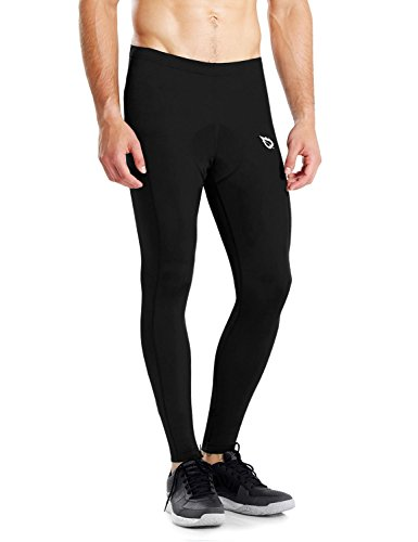 Baleaf Men's Padded Long Bicycle Pants Cycling Compression Tights Black Size S
