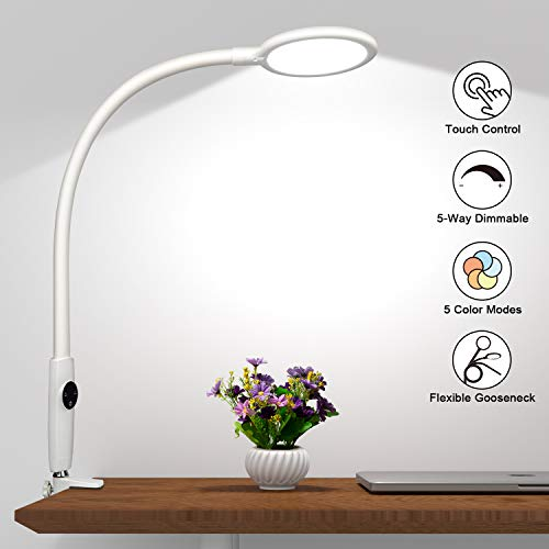 LED Desk Lamp Flexible Gooseneck, Touch Control Dimmable Metal Clamp Light with 5 Brightness Levels & 5 Color Modes, Memory Function, 10W Eye-Care Lamps for Office, Work, Reading, Study (White)