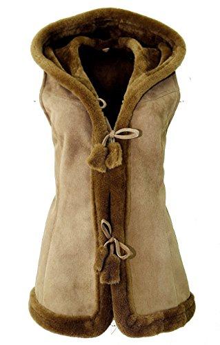 DX-Exclusive wear Damen-Schaffellweste, Lammfellweste (Wildleder, Velour) / Gilet, Weste/KK-0005 (40, beige)
