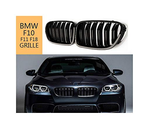 Front Kidney Grille For BMW 5 Series F10 F11 M5 2010-2017, ABS Glossy Black Double-slat Grill