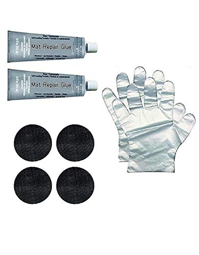 Galactic Xtreme Trampoline Mat Repair Kit - Repair Holes Tears - Two 4 Inch Round Patches & Glue Tube with 2 Disposable Gloves (Pack of 2)