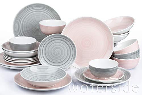 Waterside Fine China Tafelservice, Porzellan, Rosa und Grau, Einheitsgröße