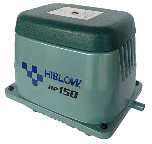 Hiblow Pompe à air HP de 150 180L/Min à 1,3 m, Sortie 18 mm, 125 W