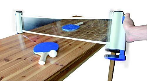 Jollity Works-Sets de Ping Pong Compuesto por Red Extensible Retractil + 2 Raquetas + 3 Pelotas para Tenis de Mesa